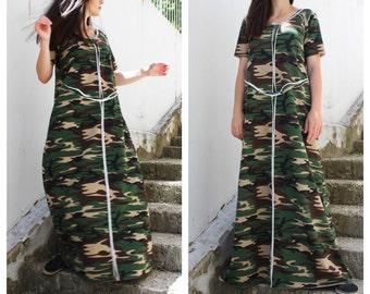 Military dress/ Plus Size Boho Dress/ Boho Maxi Dress/ Designer Dress/ Summer dress/ Maxi Cotton Dress /by Fraktura D0024