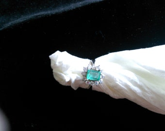 18kt White Gold & Emerald Diamond Engagement Ring