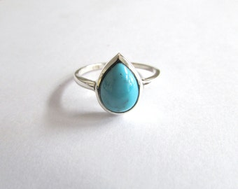 Tear shape turquoise gemstone ring sterling silver ring turquoise jewelry blue stone ring