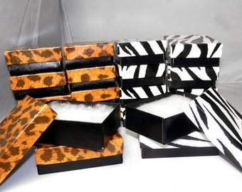 20 3.25x2.25 Leopard and Zebra, Jewelry Presentation Gift Display Boxes, Retail boxes, Favor boxes