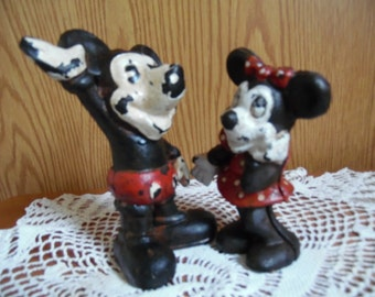 Vintage Disney Mickey Mouse And Minnie Mouse Cast Iron Banks