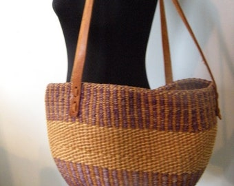 Vintage Woven Jute African Market Bag / tote ~ Tan and Purple Sisal and leather ~ Made in Kenya