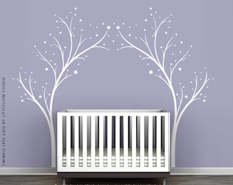 White Twinkle Tree Gate Wall Decal by LittleLion Studio