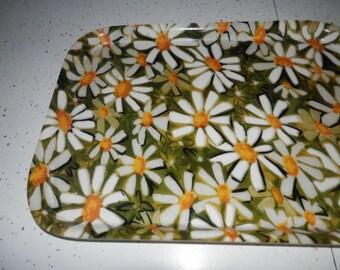FiberGlass Serving Tray Vintage Green Daisy ******free shipping
