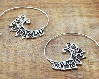 Tribal Silver Earrings, Spiral Hoop Earrings, Gypsy Earrings, Indian Earrings, Tribal Earrings, Bohemian Earrings, Ethnic Jewelry