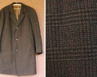 1980's Brown Prince of Wales Tweed Coat - 70's Wool winter Coat
