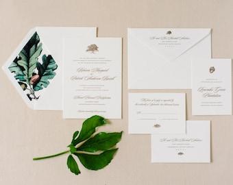 Letterpress Wedding Invitation | Oak Tree Wedding Invitation | Tradd Street Suite | SAMPLE