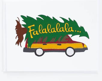 Christmas Vacation Tree on Car Holiday Card - Funny Card - Christmas Card - Pop Culture - Movie Quotes