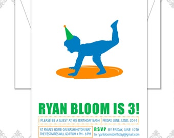 Modern Third Birthday Boy Invite - Boy dancing Silhouette Invite - Boy One Leg trick invite - Little Boy dancing Birthday Invitation