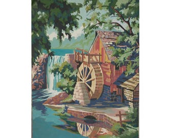 "Paint by number, ""Old Mill Stream"", vintage PBN Painting, 18"" x 24"" large painting"