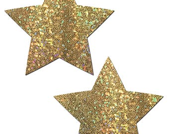 Pasties - Rockstar: Gold Glitter Star Nipple Pasties by Pastease® o/s