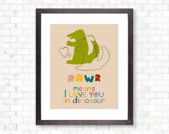 Rawr I Love You in Dinosaur, Modern Art Print, Wall Decoration, Love Poster, Pen Illustration, Valentines Print, Love Art  SALE buy 2 get 3