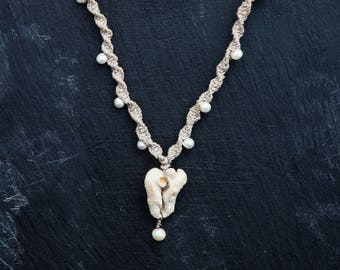 vagina coral necklace with fresh water pearls