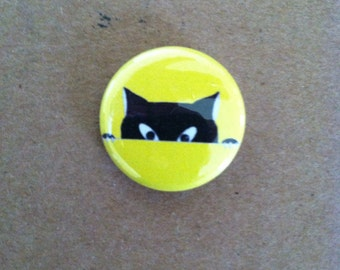 Cat Face Pin Back Button 1 inch size