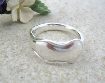 SPOON RING, Minimalist ring, Thumb ring, Upcycled jewelry, Minimal ring, Plain ring, Unisex ring, Sterling silver. Size 9 1/2 or customized.