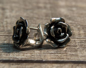 "Earrings ""Rose"" made of 925 silver. Polished or blackened"