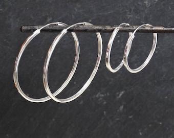 Silver Hoops, Plain Silver Hoops, Square Hoops, Simple Hoops, Modern Hoops, Classic Hoops, Large Hoops, Sterling Silver, 925