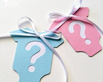 Gender reveal baby shower Gift Tags. Pink and Blue. Baby-romper, onepiece shape. Baby girl or baby boy. Question mark, favor tags.