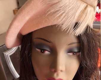 Cream Beret with Feather