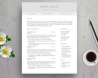Clean Resume Template, Cover Letter Template for Word   Professional & Modern Design   Minimal CV Template for Microsoft Word, A4, US Letter