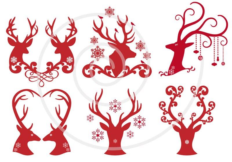 Christmas Deer Reindeer Antlers Digital Clip Art