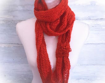 Cowl, infinity scarf, Alpaca cowl, neck warmer, scarf, circle scarf, scarf,crochet neck warmer, paprika, gifts for her, winter scarf