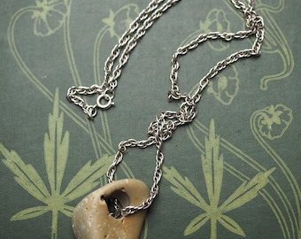 Polished Limestone Hag Holed Stone on a Sterling Silver Chain for Luck and Protection - Pagan, Witchcraft