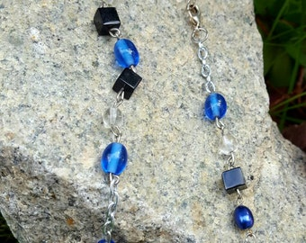 Blue and Black Necklace, Beaded Necklace, Chain Necklace