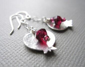 Sterling Silver Pomegranate Earrings Red Garnet Judaica