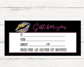 Lipsense gift certificates, Lip bucks LipSense GC, Senegence gift Card, Glitter Lipsense business gift card, gift card, INSTANT DOWNLOAD