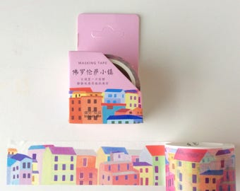 Street scene washi tape/ Houses Planner tape/  Rainbow house/ Village planner