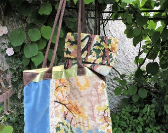 UPCYCLED FABRIC/CANVAS BAG. COVER + HAND MADE