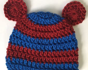 Newborn bear hat... red and blue.. photography prop.. new baby hat.. ready to ship... newborn bear beanie