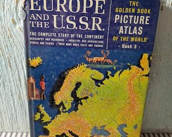 Livre d'or, photo Atlas of the World, livre pour enfants Vintage, Golden Press, droit d'auteur de 1960, l'Europe et l'URSS