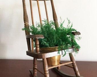 Mini Chair Planter / Rocking Chair Planter / Air Fern Planter / Succulent Vessel / 70's Whimsy Planter / Retro Gardening / Indoor Garden