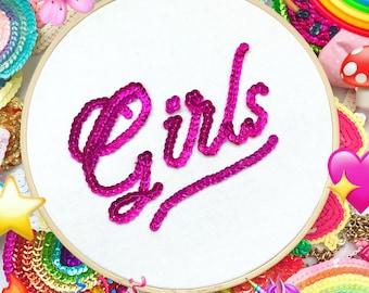Handmade Super Cute 'GIRLS' sequin Embroidery hoop