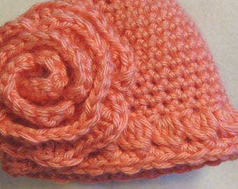 Crochet Baby Hat and Rose PATTERN - Quick and Easy Single Crochet Hat and Pretty Rose 4 sizes for Baby