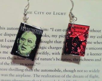 Book Earrings - Frankenstein and Dracula