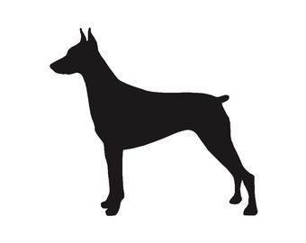 Doberman Pinscher v2 Dog Breed Silhouette Custom Die Cut Vinyl Decal Sticker - Choose your Color and Size