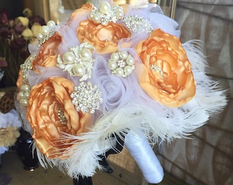 Champagne & White Brooch and Delicate Fabric Flower Vintage Wedding Bouquet w/ Ostrich Feather Accents - Full Price - Ready to Ship Bouquet