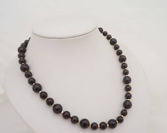 Faceted Garnet Necklace, Garmet and Haimatite Necklace, Dark Red Necklace, Gemstone Necklace, January Bithstone Necklace