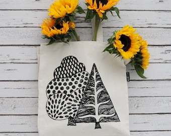 Tote Shopper /Hand Printed Canvas Carrier Bag/Tree Print/Black/Red/Green Print