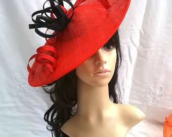 Red with Navy Feather Fascinator..Stunning Sinamay Fascinator on a Headband..