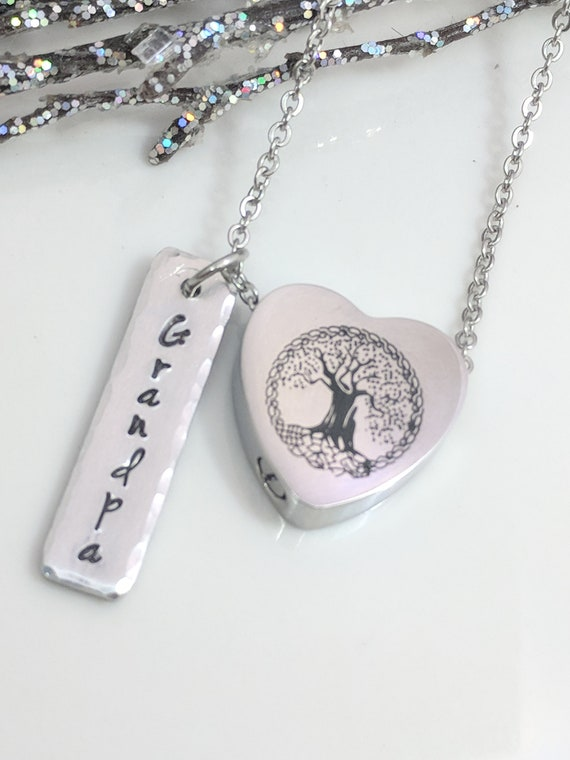 Tree of Life- Urn Necklace- Customized- Ashes Holder- Cremation Jewelry- Ashes Necklace- Memorial Jewelry- Loss of Grandpa- Loss Jewelry