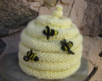 The Bee's Knees Baby Beehive Hat-Pastel Yellow, Hand Knit