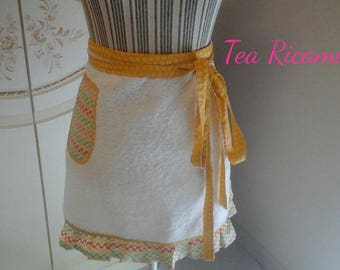 Half white Terry apron with fantasy in yellow