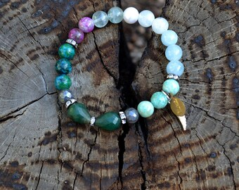 PERFECT Gift, Anxiety Protection Bracelet, Angel, Message, Crystal Healing, Emerald,Aquamarine, Labradorite, stretchy gemstone, tarot, angel