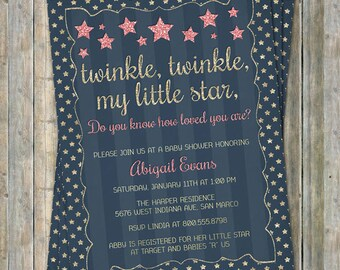 Twinkle, Twinkle Little Star baby shower invite, gold, navy, pink, How loved you are, printable file