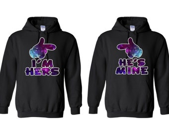 Im Hers and Hes Mine Galaxy Couple Hoodies  Mr. and Mrs. Shirt Couples Hoodie Sweaters Mr and Mrs