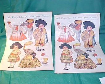 """Vintage 1921 Two Uncut Pages Dolly Dingle Paper Dolls Takes Up Grand Opera-""""Carmen"""""""